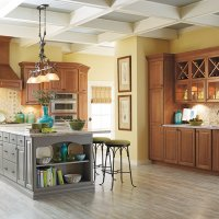 cherry_cabinets_gray_kitchen_island